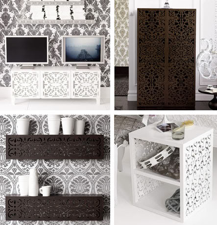loving this lace cut furniture from brocade home. currently loving   lace cut furniture    Armelle Blog