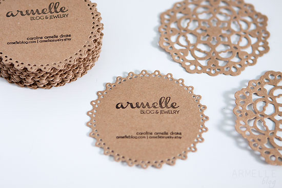 Diy doily business cards packaging armelle blog i also was able to use the lifestyle crafts antique doily die to dress up my packaging for some armelle jewelry items i gave away at the event reheart Images