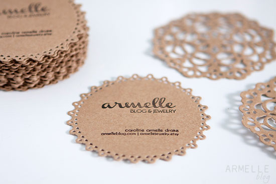 Diy doily business cards packaging armelle blog the stamp i made for my business cards for alt came in handy because i can stamp my information on anything so it was fun to be able use the doilies for colourmoves