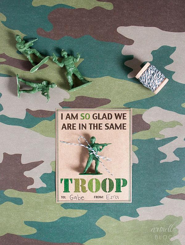 Boy Class Valentine Army Valentine Card Free Printable