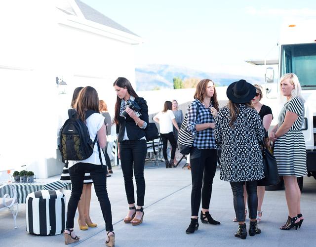 wayfair, party, black and white stripes, white exteriors, blogger party, black and white