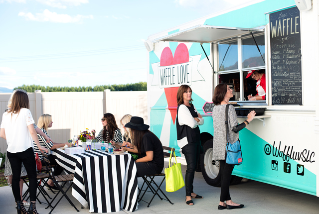 wayfair, party, black and white stripes, white exteriors, blogger party, waffle love