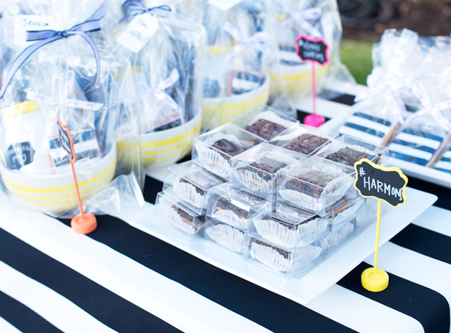 white house, wayfair, party, yellow door, black and white stripes, black and white dress, white exteriors, harmons grocery, sea salted caramel brownies