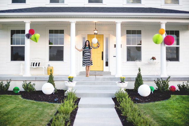 white house, wayfair, party, yellow door, black and white stripes