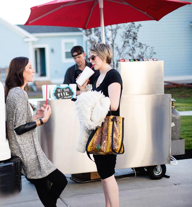 wayfair, party, black and white stripes, white exteriors, blogger party, fiiz drinks