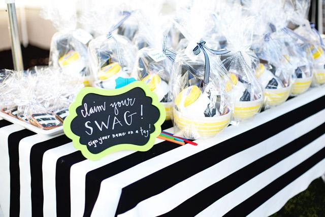 white house, wayfair, party, yellow door, black and white stripes, black and white dress, white exteriors, swag, tai pan trading