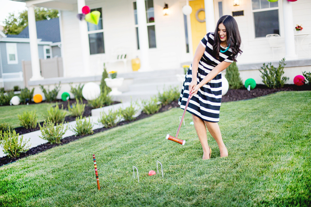 white house, wayfair, party, yellow door, black and white stripes, black and white dress, white exteriors, croquet