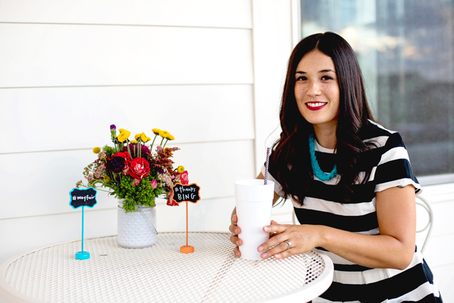 wayfair, party, black and white stripes, white exteriors, blogger party, fiiz drinks