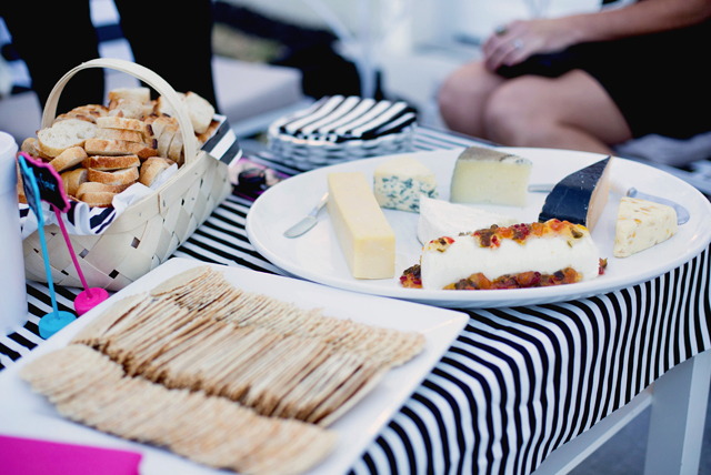 wayfair, party, black and white stripes, white exteriors, blogger party, harmons grocery, cheese plate