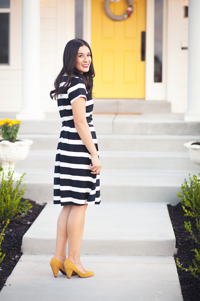white house, wayfair, party, yellow door, black and white stripes, black and white dress, white exteriors