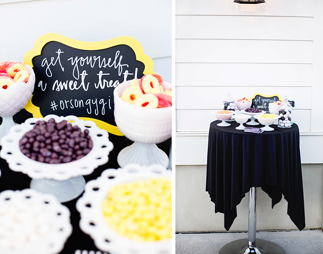 wayfair, party, black and white stripes, white exteriors, blogger party, fiiz drinks, orson gygi, sweets, treat table