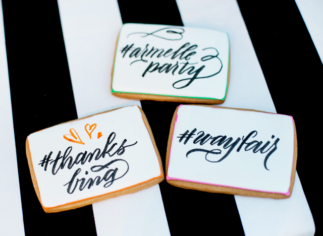 wayfair, party, black and white stripes, white exteriors, blogger party, elenis cookies, melissa esplin, bing, armelle party