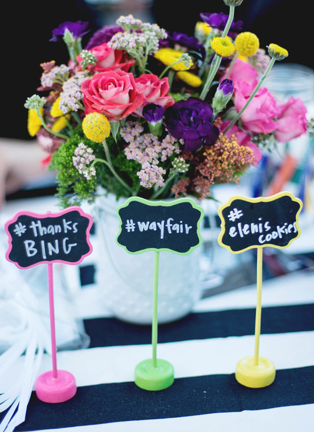 wayfair, party, black and white stripes, white exteriors, blogger party, bing