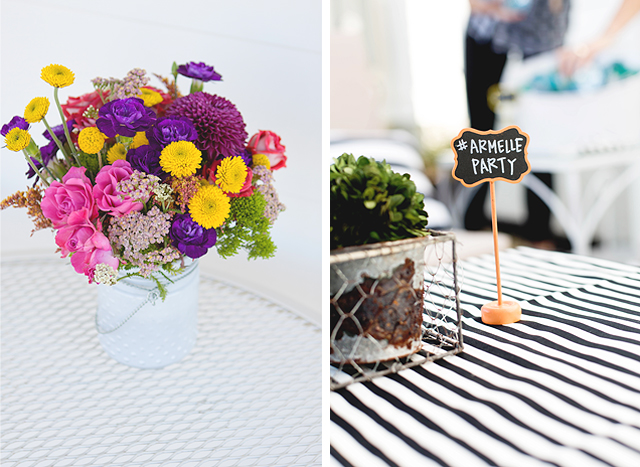 wayfair, party, black and white stripes, white exteriors, blogger party, bing, armelle party