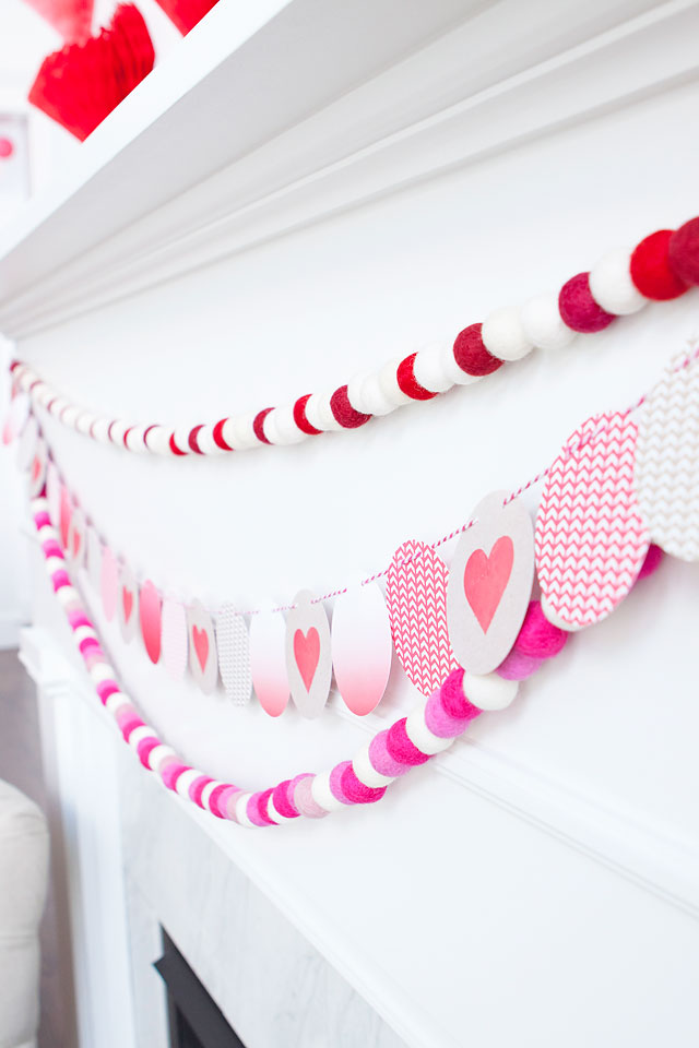 Minted Valentine's Day Garland and Hello Maypole Felt Ball Garland via Armelle Blog