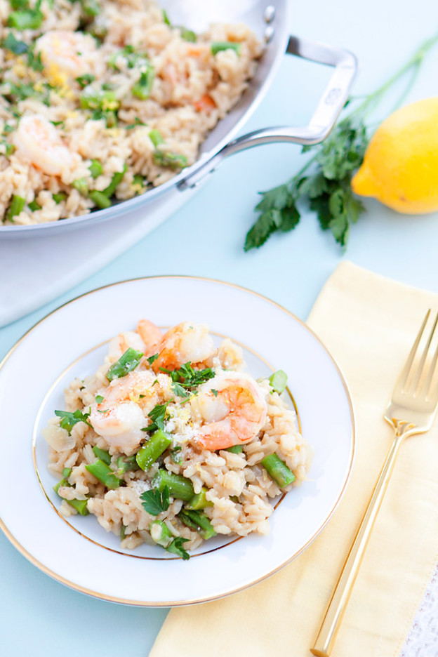 Lemon Asparagus Risotto with Shrimp