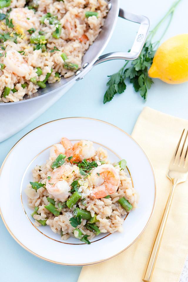 Lemon Asparagus Risotto with Shrimp