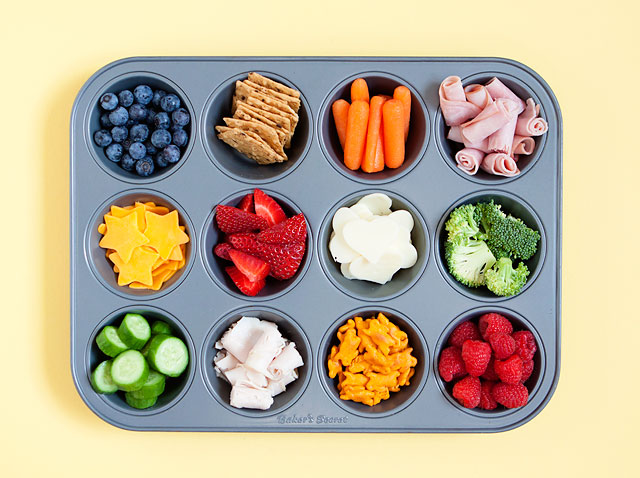 Healthy Kids Snacks served in Muffin Tins
