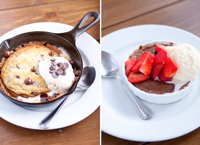 Molten Chocolate Cake and Chocolate Chip Cookie with Vanilla Ice Cream