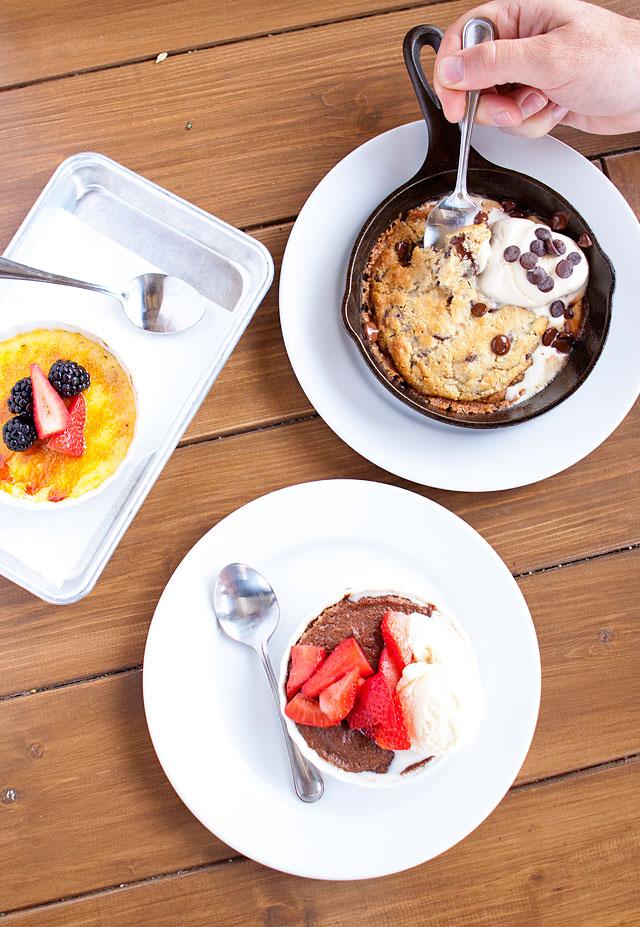 Creme Brûlée Molten Chocolate Cake and Chocolate Chip cookie with Vanilla Ice Cream