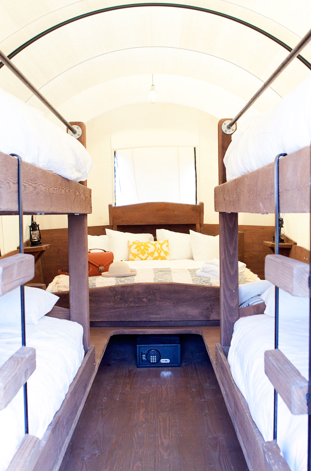 Inside of a Glamping Covered Wagon at Conestoga Ranch