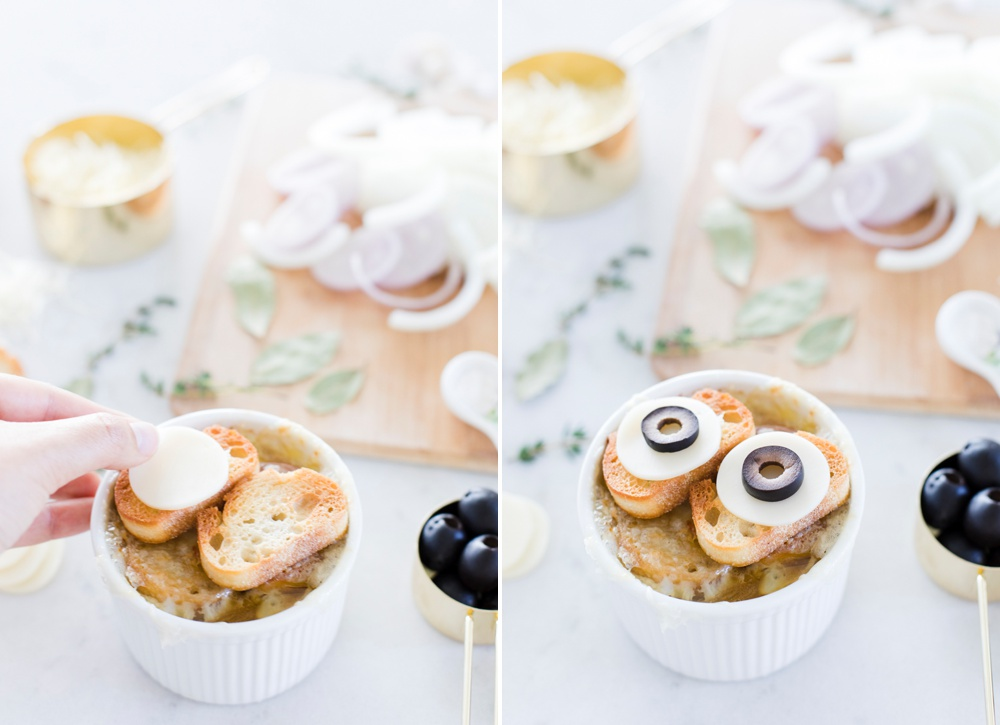 Spooky Eyeball Halloween French Onion Soup Recipes with Sargento Swiss Cheese