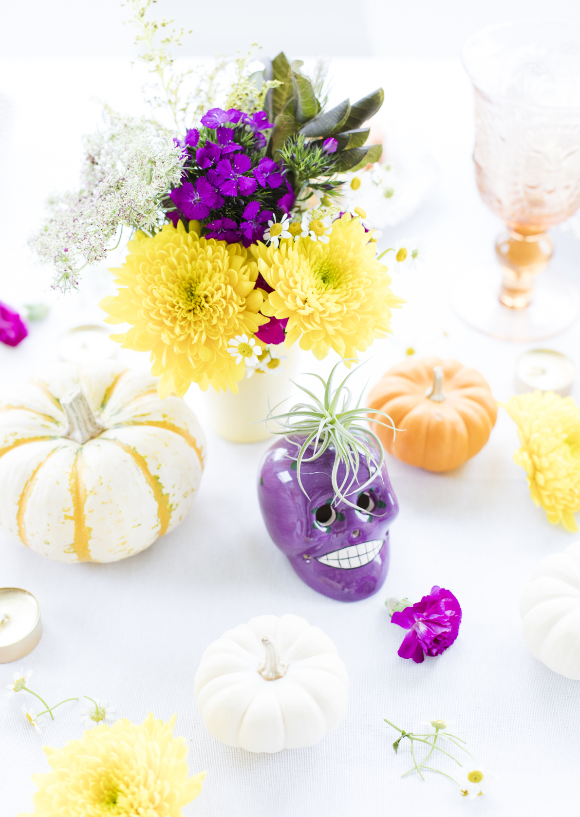Colorful Fall Halloween Table Centerpieces