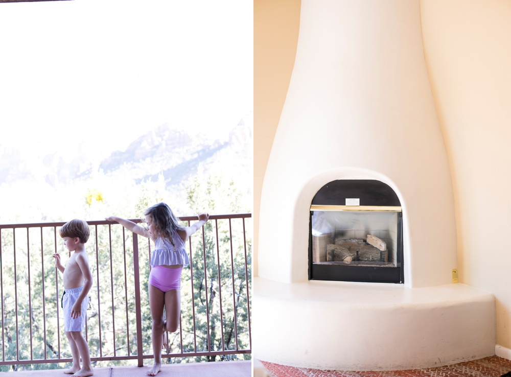 Fireplace and view at the Orchards Inn Sedona Hotel