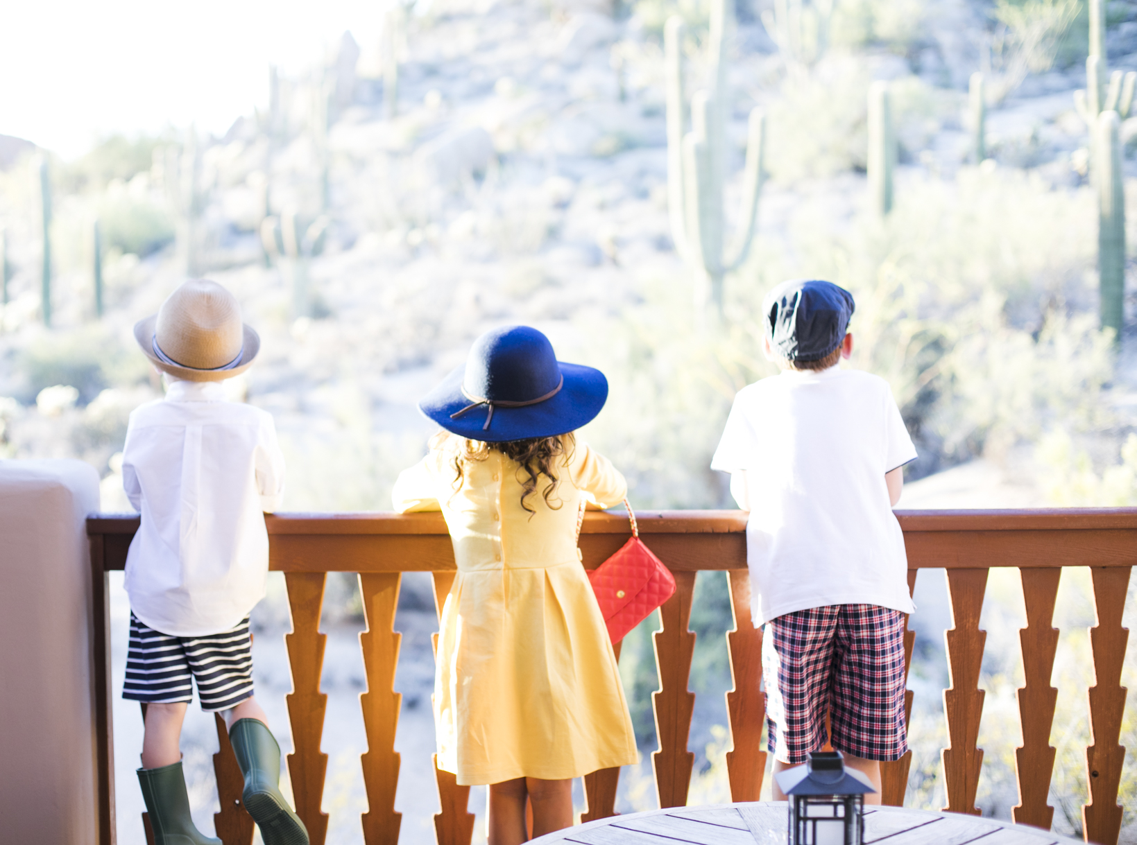 Kids looking at the Balcony View wearing Janie and Jack
