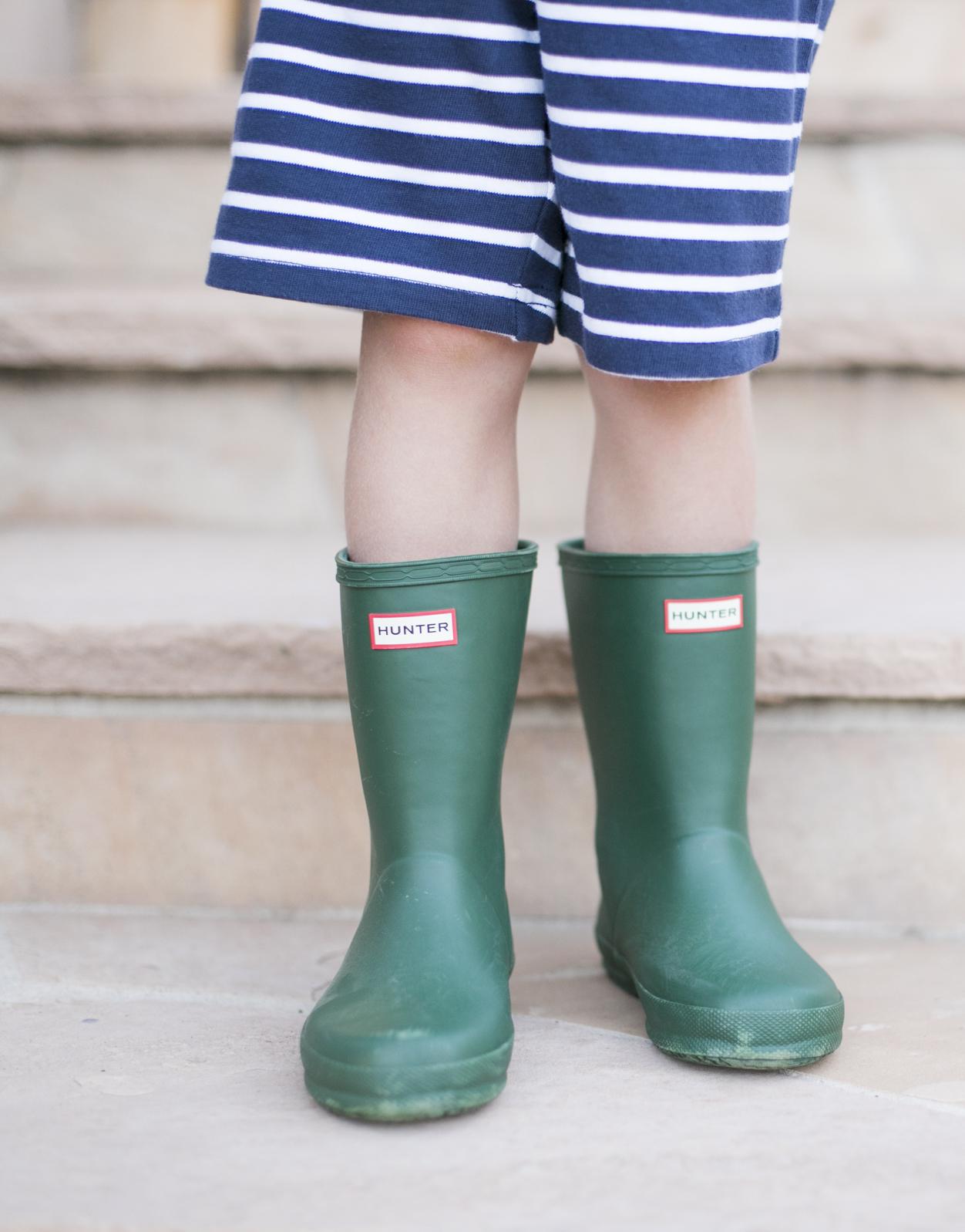 Hunter Green Boys Rain Boots