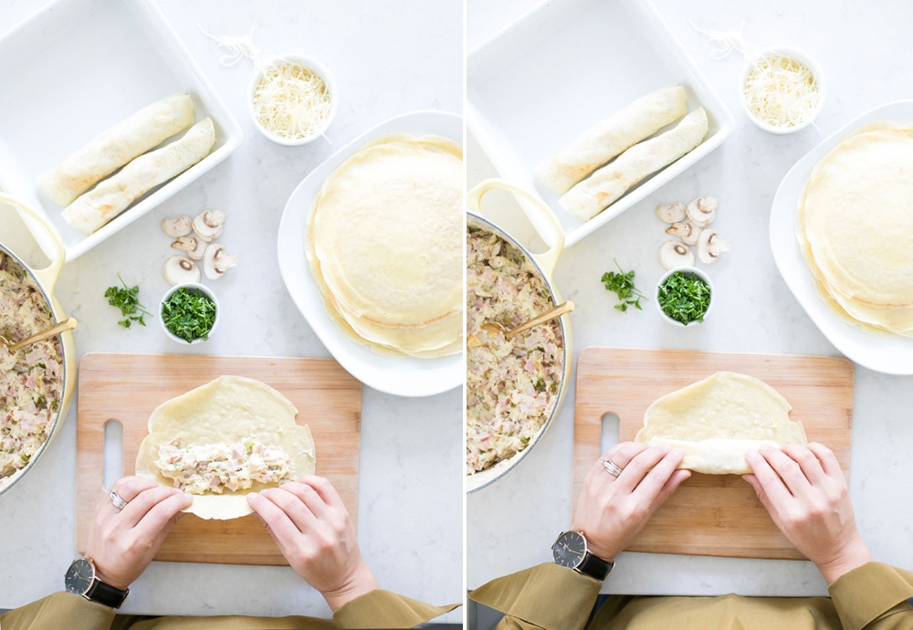 Rolling up Ham and Cheese French Crepes