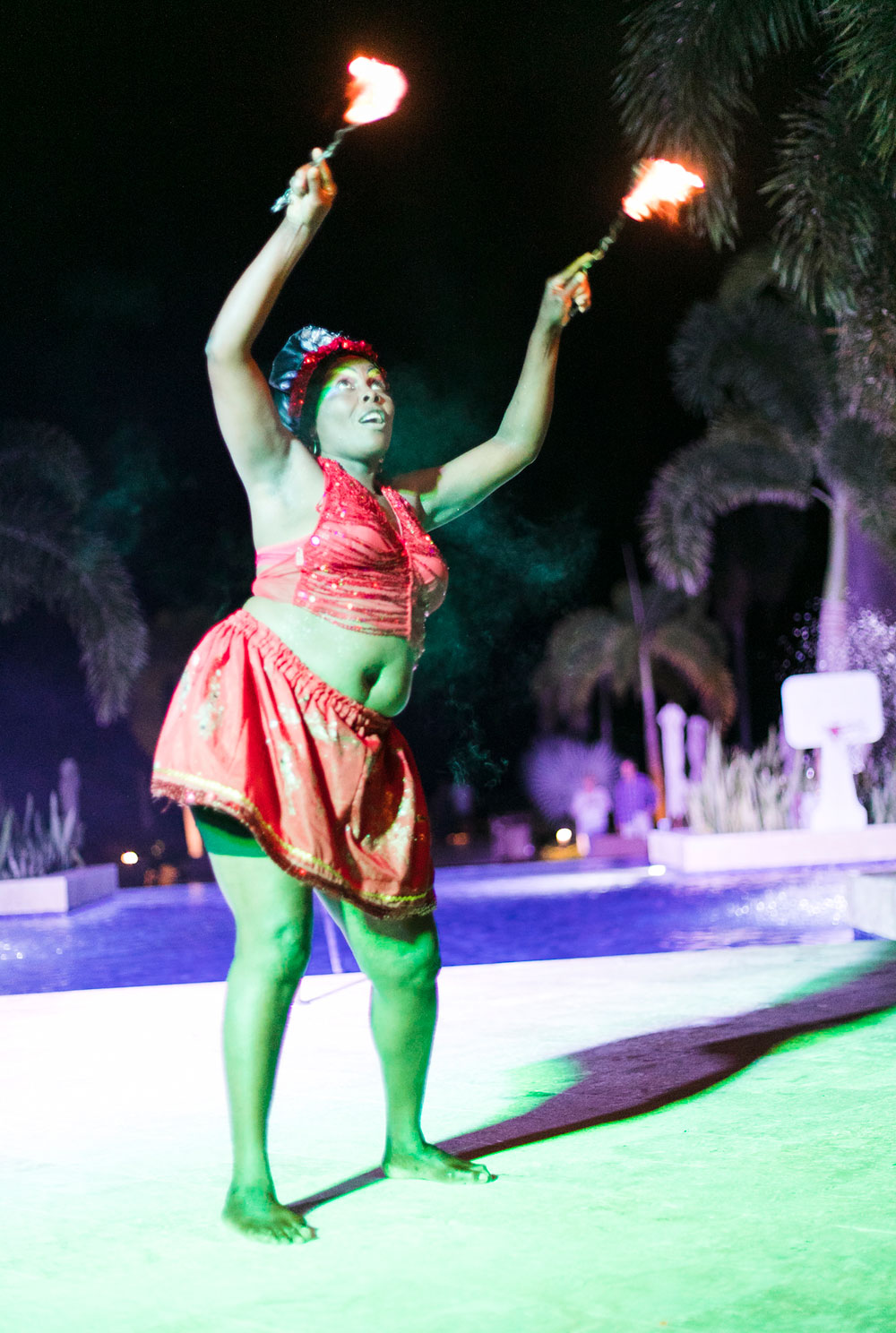 Fire Dancer at the Hyatt Ziva Rose Hall Jamaica