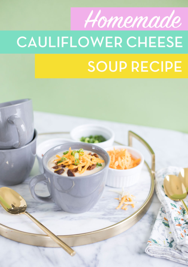 Cauliflower Cheese Soup Recipe with Shredded Sargento Cheese Toppings