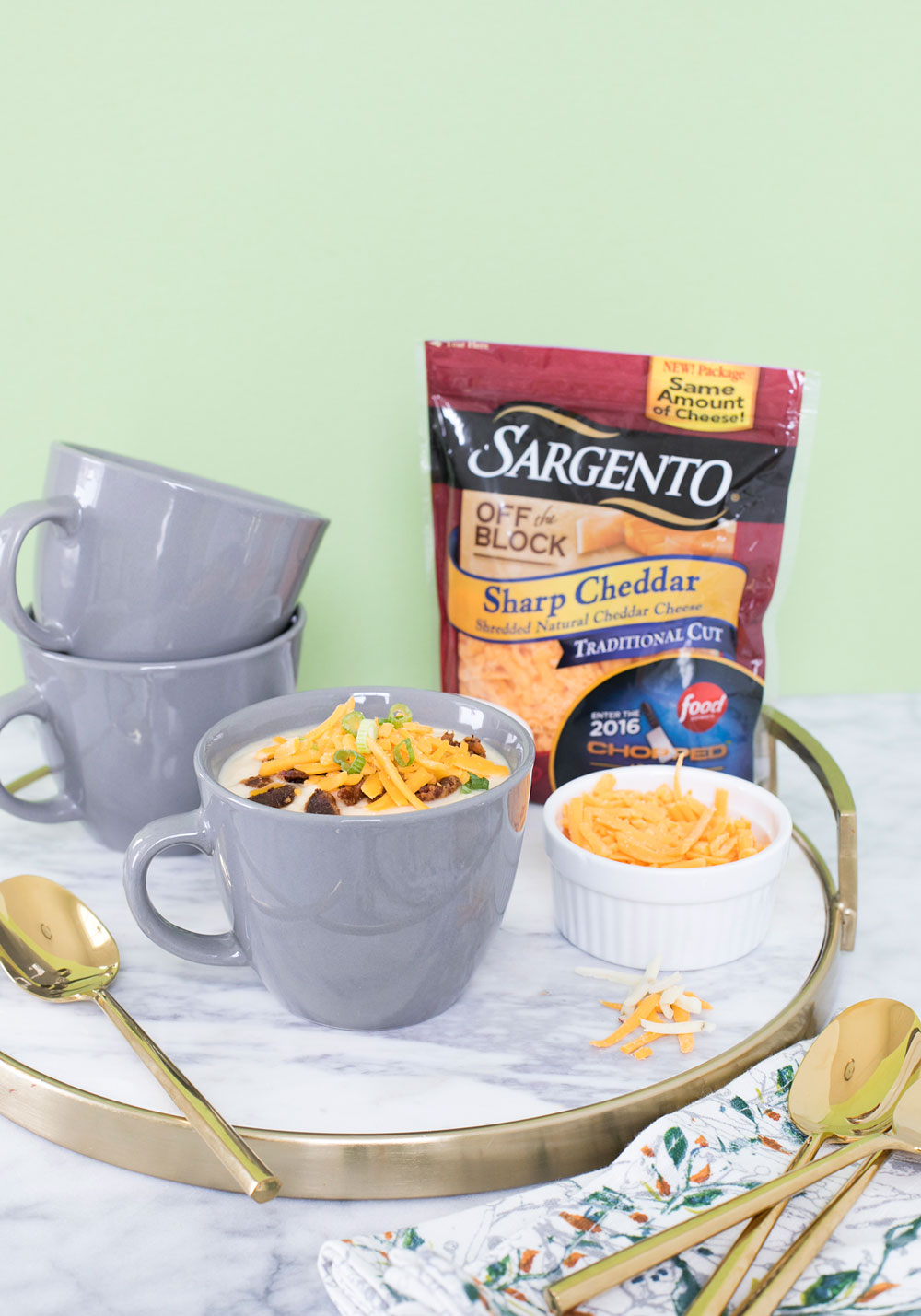 Cheesy Cauliflower Soup with Sargento Cheese