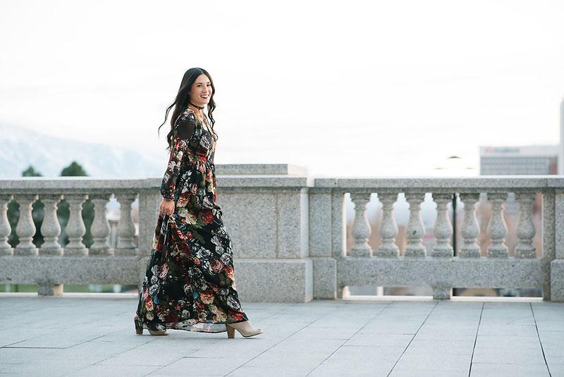 Fashion Blogger Shabby Apple Winter Floral Long Dress