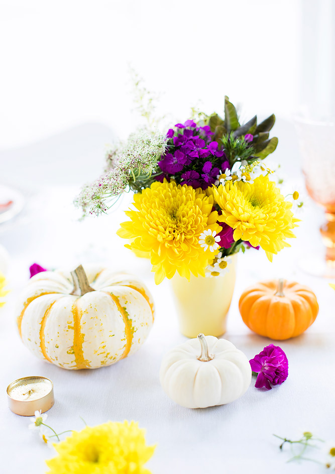 Thanksgiving / Friendsgiving Table Decor with a Pop of Color