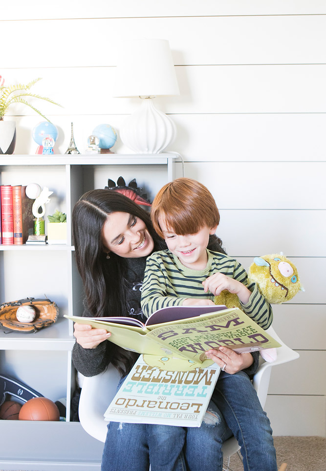 Mom and Son Reading together