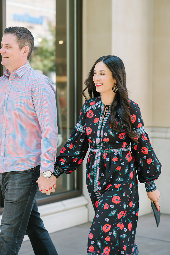 Date Night Fall Floral Dress with Steve Madden Booties from Evereve