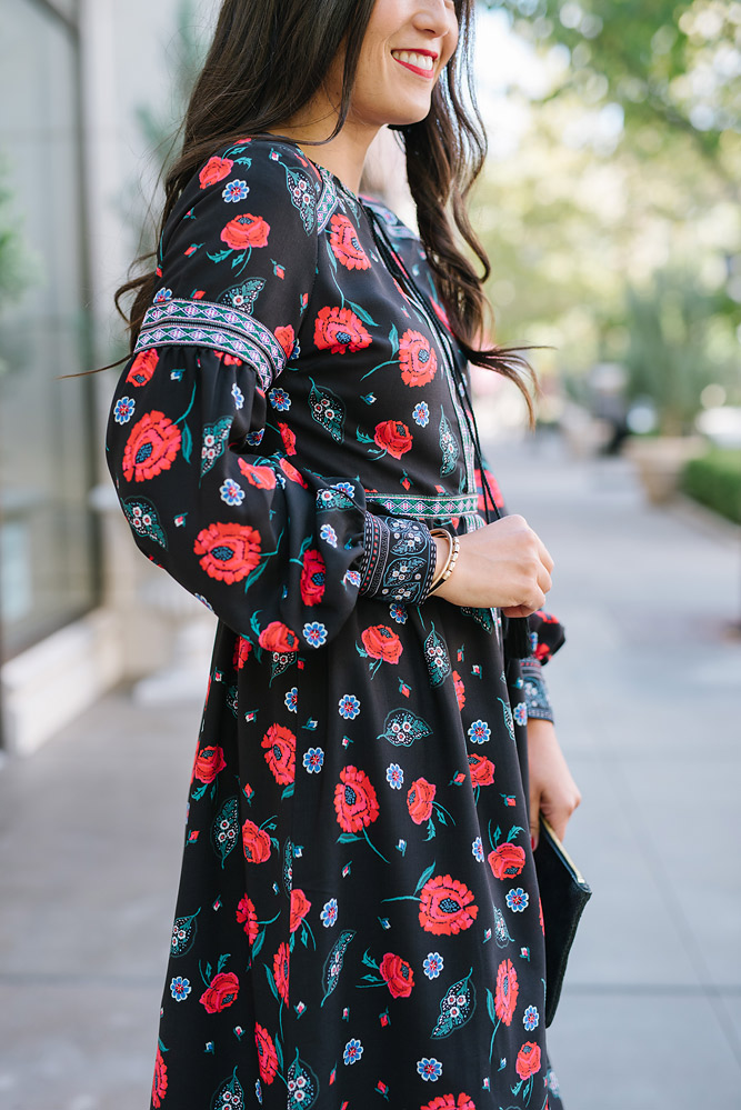 Fall Floral Dress with Steve Madden Booties from Evereve