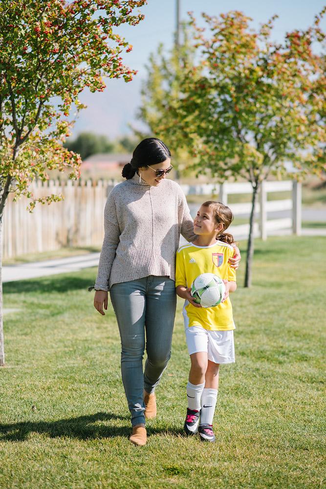 Soccer Mom Designer Denim and Turtleneck Sweater from Evereve
