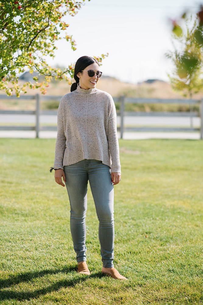 Designer Denim and Turtleneck Sweater from Evereve
