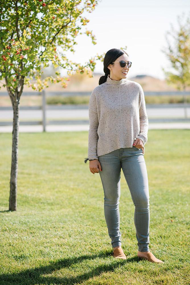 Designer Denim and Turtleneck Sweater from Evereve