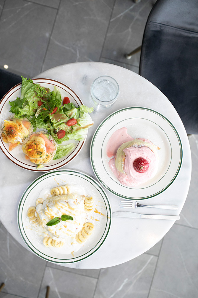 Basilur Tea Soufflé pancakes and Eggs Benedict