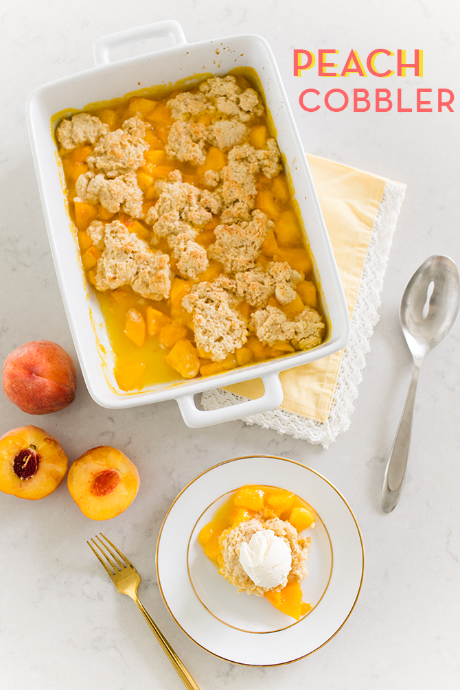 Perfect Summer Peach Cobbler with a Gluten Free Version