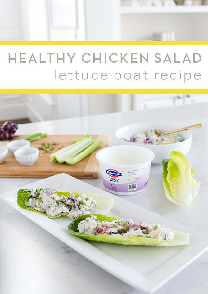 Healthy Chicken Salad Lettuce Boat Recipe with Fage Greek Yogurt